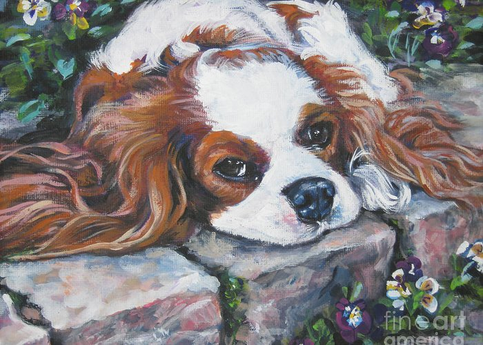 Cavalier King Charles Spaniel Greeting Card featuring the painting Cavalier King Charles Spaniel In The Pansies by Lee Ann Shepard