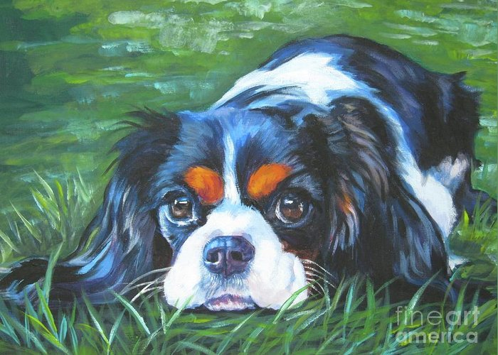 Cavalier King Charles Spaniel Greeting Card featuring the painting Cavalier King Charles Spaniel Tricolor by Lee Ann Shepard