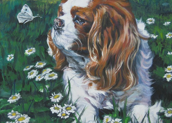 Cavalier King Charles Spaniel Greeting Card featuring the painting Cavalier King Charles Spaniel With Butterfly by Lee Ann Shepard