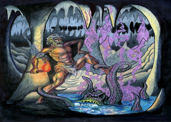Cave Greeting Card featuring the painting Cave Creature by Kevin Middleton