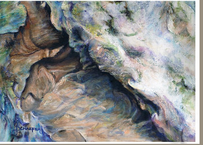 Cave Greeting Card featuring the painting Cave Of Many Colors by M Schaefer