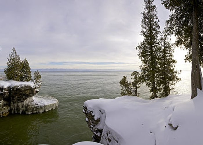 Cave Point Park Greeting Card featuring the photograph Cave Point Panorama by Richard Steinberger