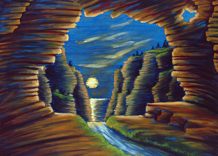 Cave Greeting Card featuring the painting Cave With Cliffs by Jennifer McDuffie