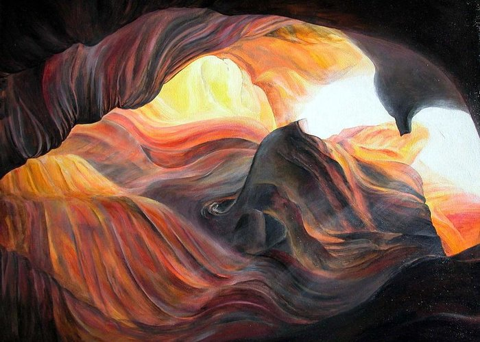Landscape Greeting Card featuring the painting Caverne by Muriel Dolemieux