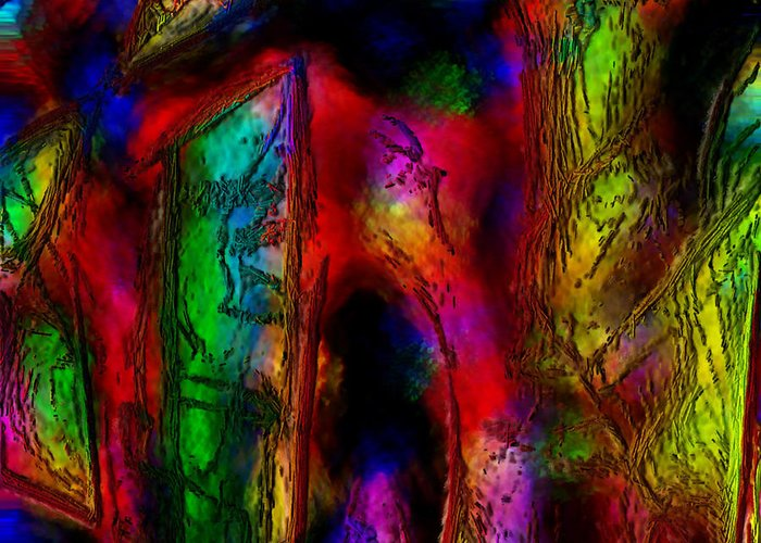 Abstract Greeting Card featuring the painting Caverns Of The Mind by Dee Flouton