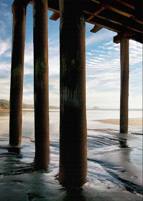 Cayucos Greeting Card featuring the digital art Cayucos Pier by Sharon Foster