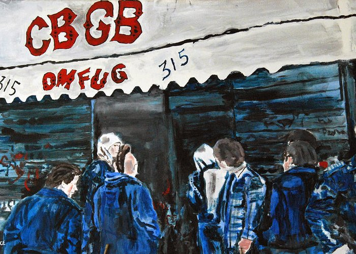 New York City Paintings Greeting Card featuring the painting Cbgb's by Wayne Pearce