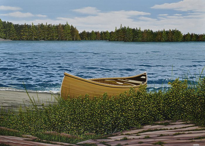 Landscapes Greeting Card featuring the painting Cedar Canoe by Kenneth M Kirsch