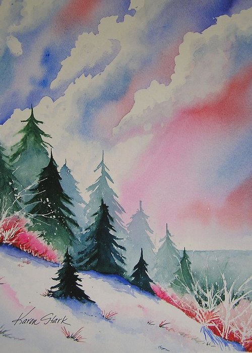 Snow Greeting Card featuring the painting Cedar Fork Snow by Karen Stark