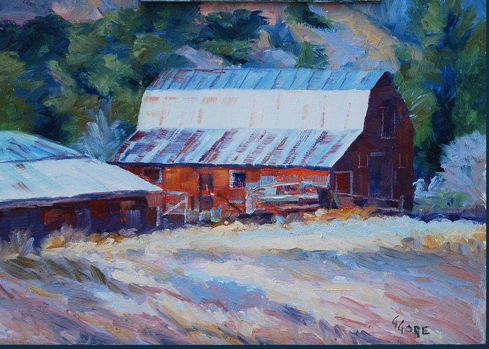Barn Greeting Card featuring the painting Cedar Hill Barn by Gary Gore