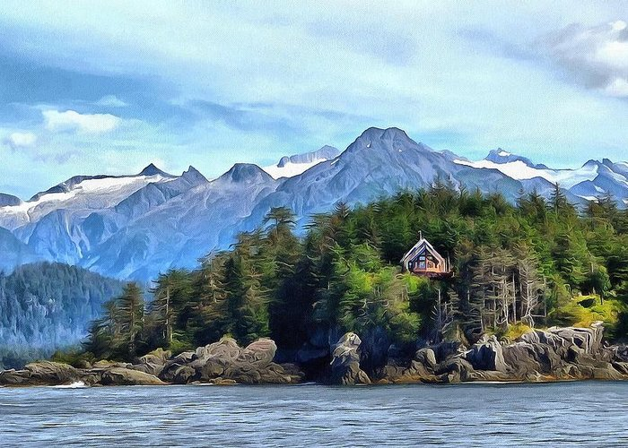 Alaska Seacoast Greeting Card featuring the photograph Cedar Home On Bluff by Judy Coggin