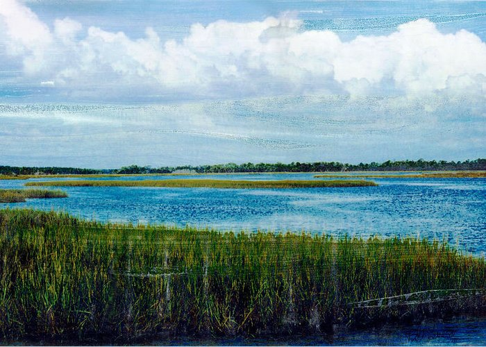 Cedar Key Greeting Card featuring the mixed media Cedar Key 2 by Bob Senesac