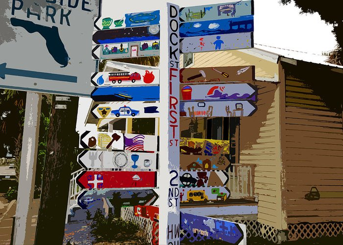 Cedar Key Florida Greeting Card featuring the painting Cedar Key Directional by David Lee Thompson