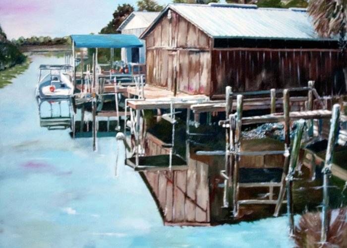 Boat Greeting Card featuring the painting Cedar Key Reflections 2 by Greg Morris