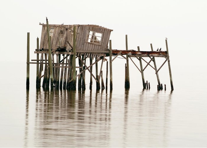 Wooden Greeting Card featuring the photograph Cedar Key Structure by Patrick M Lynch