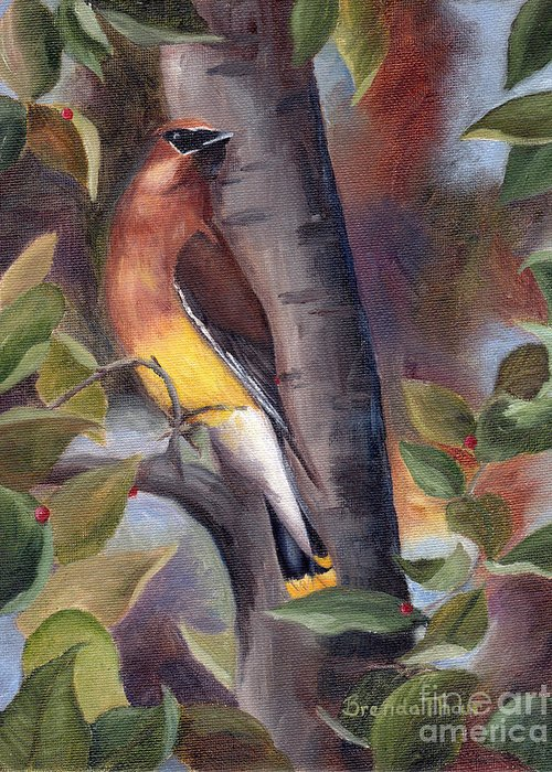 Bird Greeting Card featuring the painting Cedar Waxwing by Brenda Thour