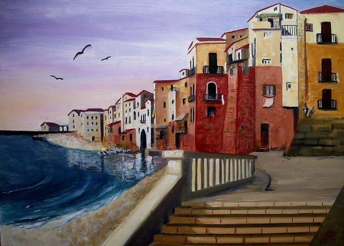 Imbrunire Su Cefalu Greeting Card featuring the painting Cefalu by Anthony Meton