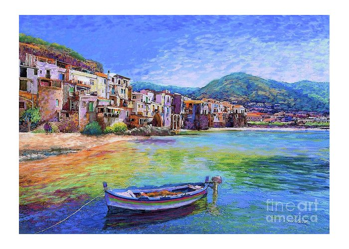 Italy Greeting Card featuring the painting Cefalu Sicily Italy by Jane Small