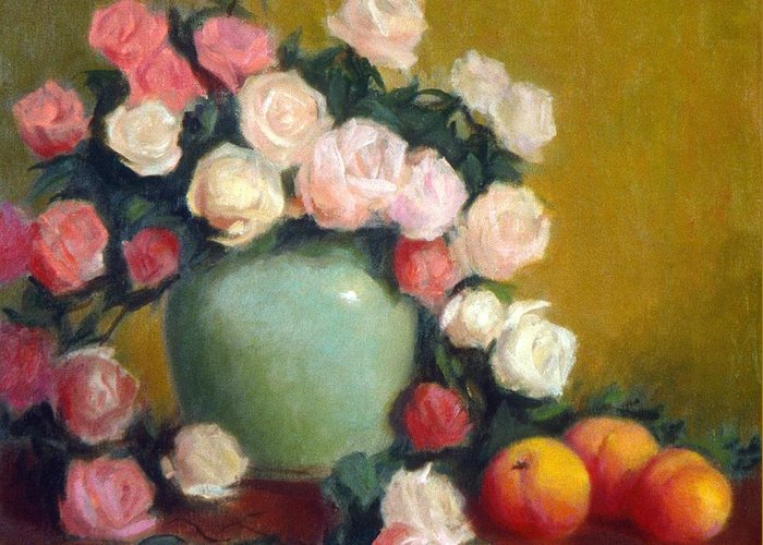 Still Life Greeting Card featuring the painting Celadon Vase With Roses And Nectarines by David Olander