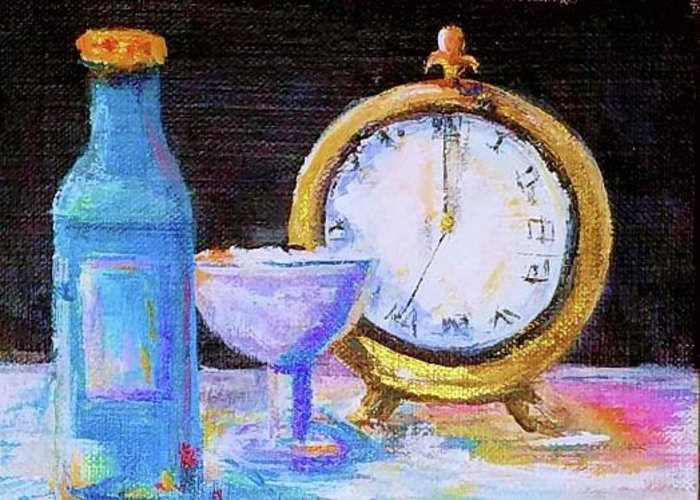 Bottle Greeting Card featuring the painting Celebration by Bernadette Krupa