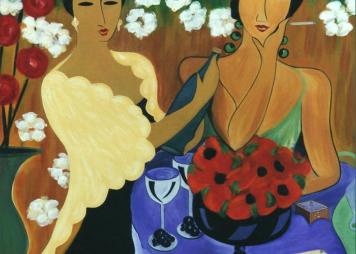 #female Greeting Card featuring the painting Celebration by Jacquelinemari