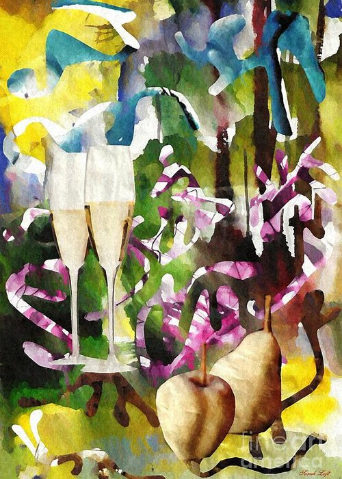 Party Greeting Card featuring the mixed media Celebration by Sarah Loft