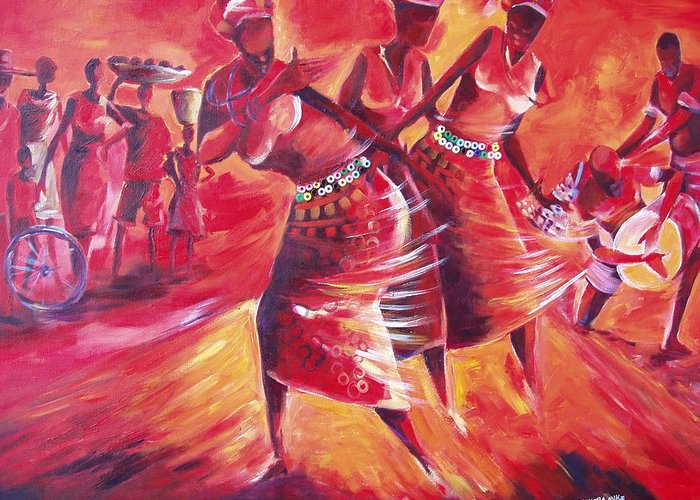 Celebration Greeting Card featuring the painting Celeration by Michael Echekoba