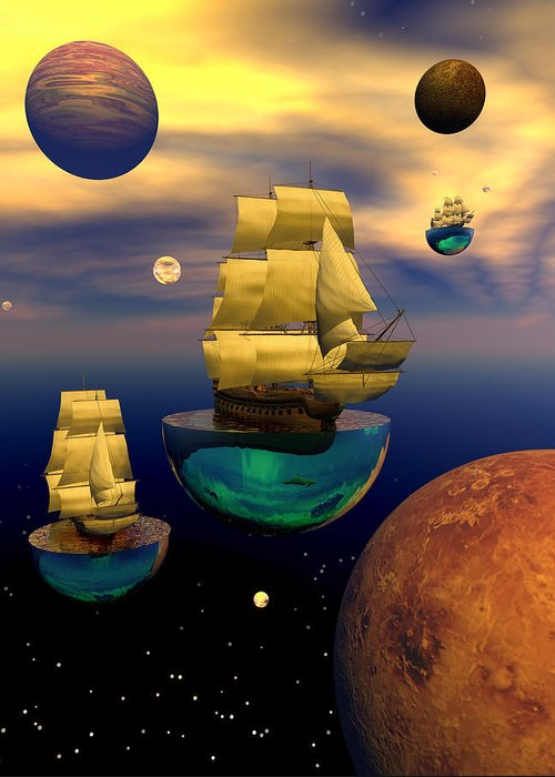 Bryce 3d Scifi Fantasy tall Ship Windjammer \sailing Ship\ Sailing Greeting Card featuring the digital art Celestial Armada by Claude McCoy