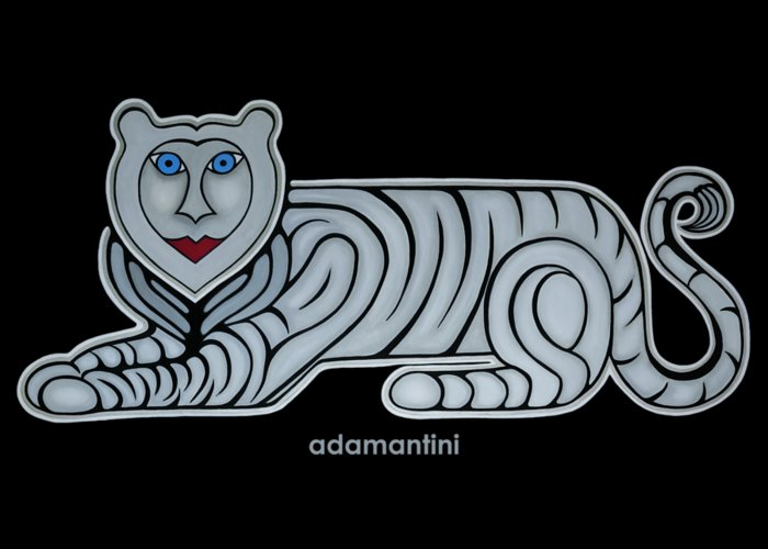 Celestial Greeting Card featuring the painting Celestial big white tiger woman by Adamantini Feng shui
