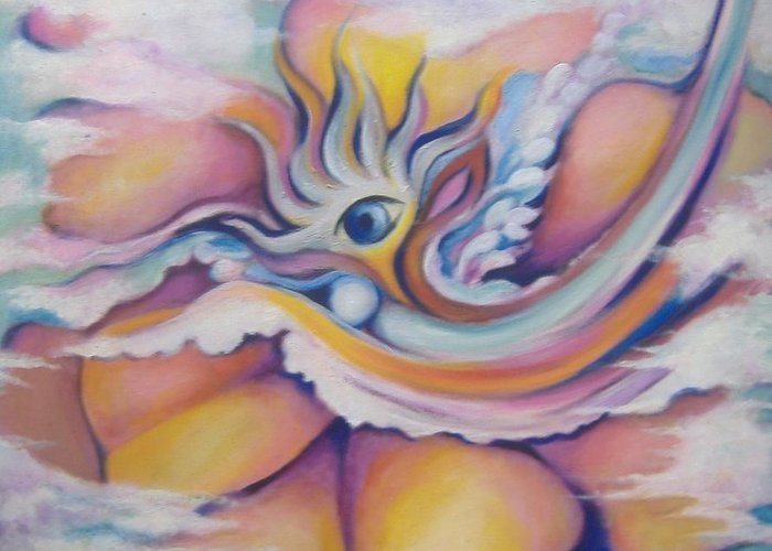 Surreal Artwork Greeting Card featuring the painting Celestial Eye by Jordana Sands