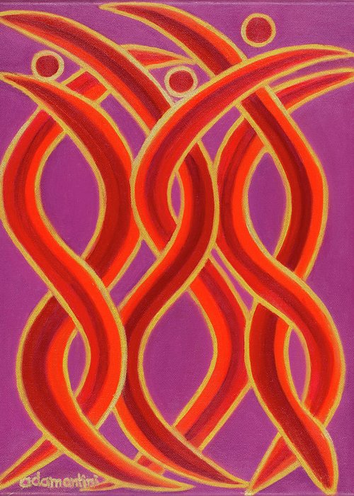 Celestial Fire Greeting Card featuring the painting Celestial Fire by Adamantini Feng shui