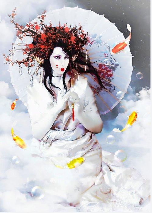 Celestial Koi Greeting Card featuring the digital art Celestial Koi Geisha by Shanina Conway
