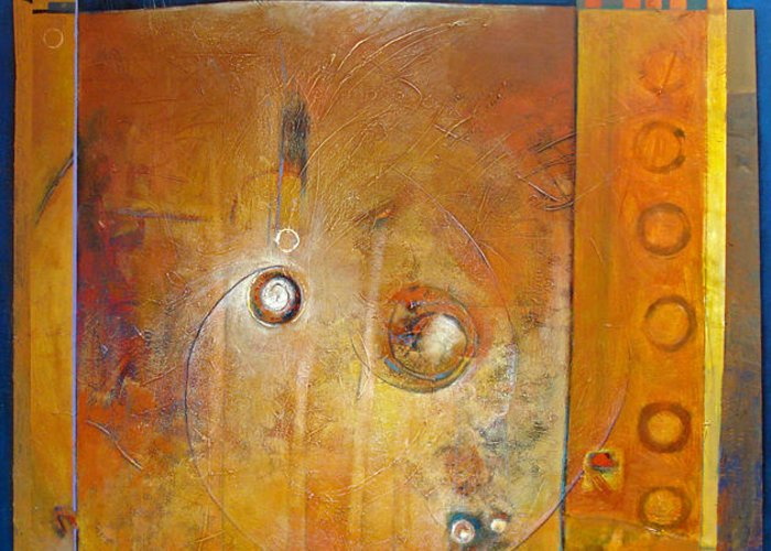 Abstract Greeting Card featuring the painting Celestial Navigations by Dale Witherow