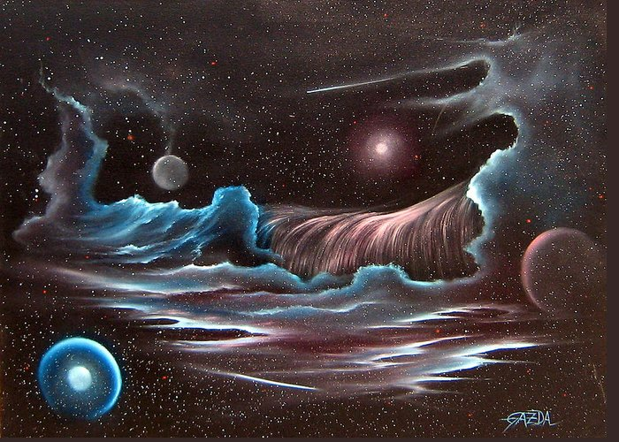 Visionary Greeting Card featuring the painting Celestial Wave by David Gazda