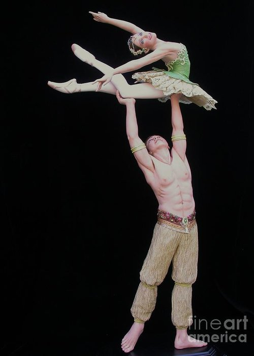 Ballet Greeting Card featuring the sculpture Celle Qui Vole Or She Who Flies by Vickie Arentz
