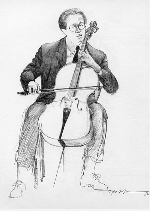 Cello Player Greeting Card featuring the drawing Cellist by Opoku Acheampong