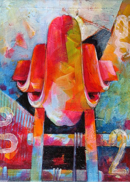 Musical Artwork Greeting Card featuring the painting Cello Head In Blue And Red by Susanne Clark