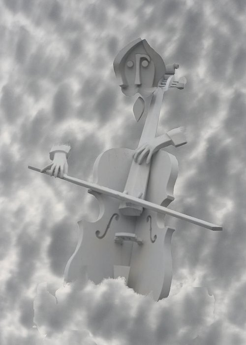 Clouds Greeting Card featuring the photograph Cello In The Clouds by David Houston