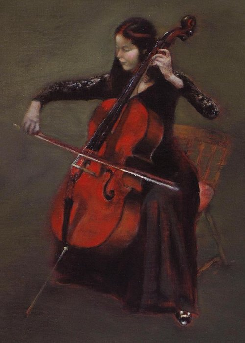 Young Lady Greeting Card featuring the painting Cello Player by Takayuki Harada