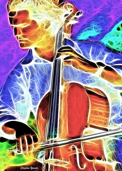 Cello Greeting Card featuring the digital art Cello by Stephen Younts