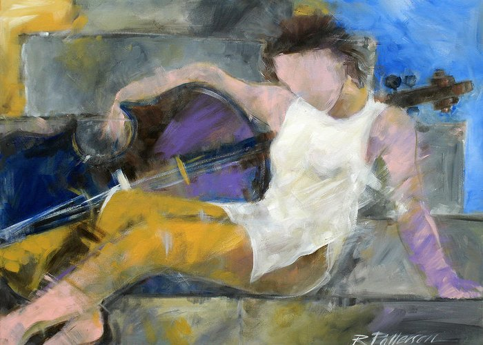 Figurative Greeting Card featuring the painting Cello Walking by Ron Patterson