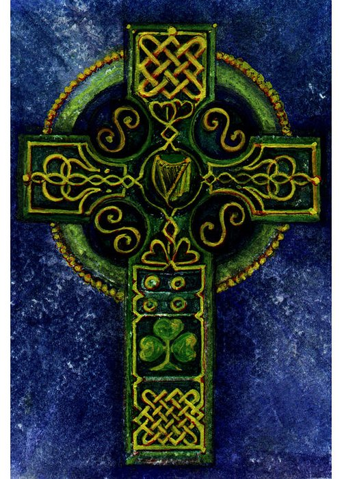 Elle Fagan Greeting Card featuring the painting Celtic Cross - Harp by Elle Smith Fagan
