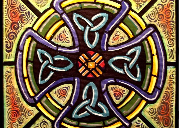 Celtic Greeting Card featuring the painting Celtic Cross 2 by Jim Harris