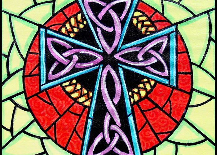 Celtic Greeting Card featuring the painting Celtic Cross by Jim Harris