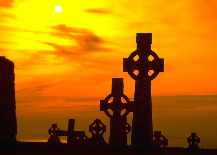 Christian Greeting Card featuring the photograph Celtic Crosses In Graveyard by Carl Purcell