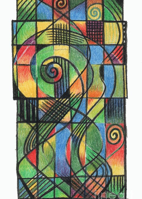 Celtic Greeting Card featuring the drawing Celtic Cruciform by Andy Mercer