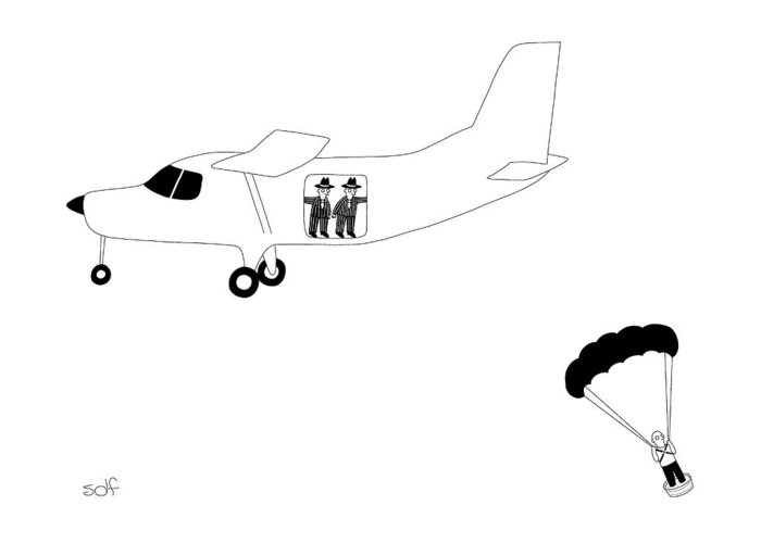 Airplane Greeting Card featuring the drawing Cement Shoes by Seth Fleishman