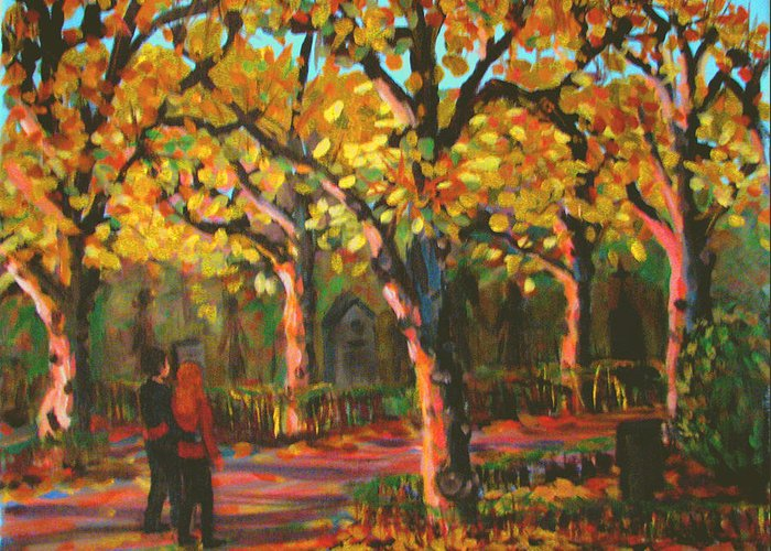 Walk Greeting Card featuring the painting Cemetary In Autumn by Art Nomad Sandra Hansen