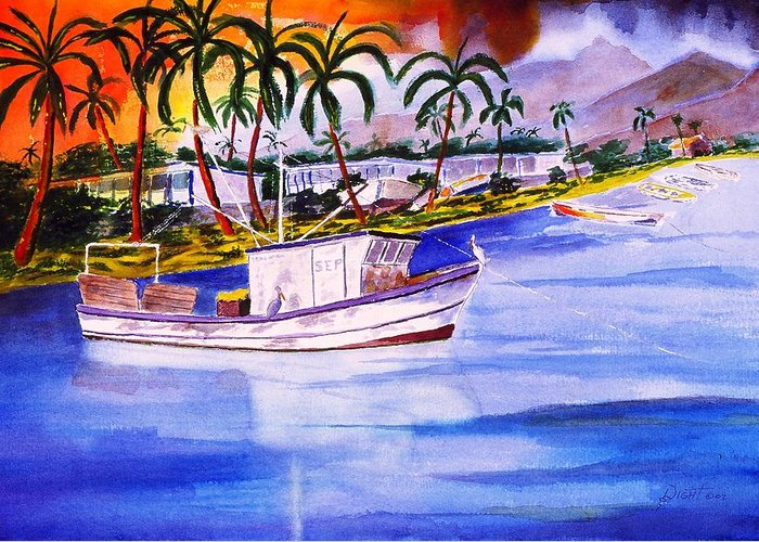 Seascape Greeting Card featuring the painting Cena by Buster Dight