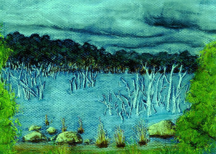 Lake Trees Water Storm Clouds Greeting Card featuring the pastel Central Highland's Lake. by Bethwyn Mills